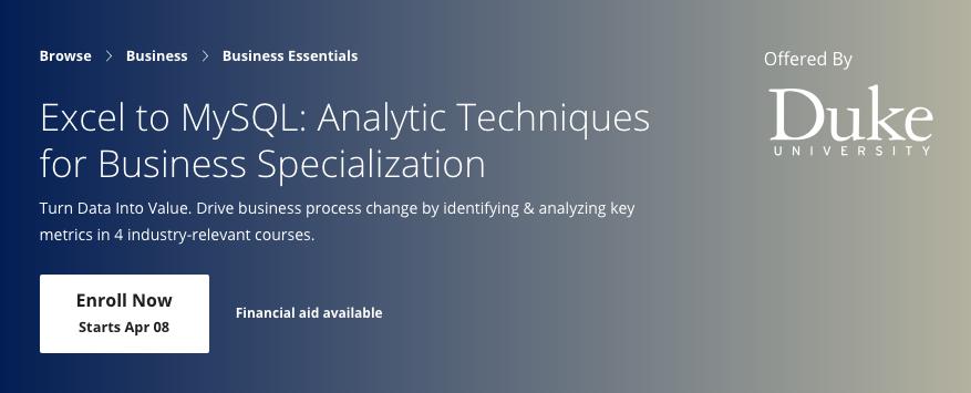 excel MySQL analytics