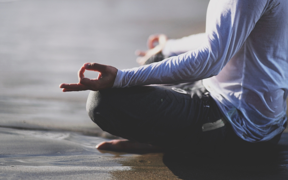 man meditation outside