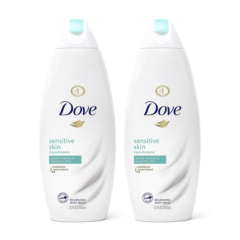Two bottles of Dove Sensitive Skin Body Wash; best body wash for sensitive skin