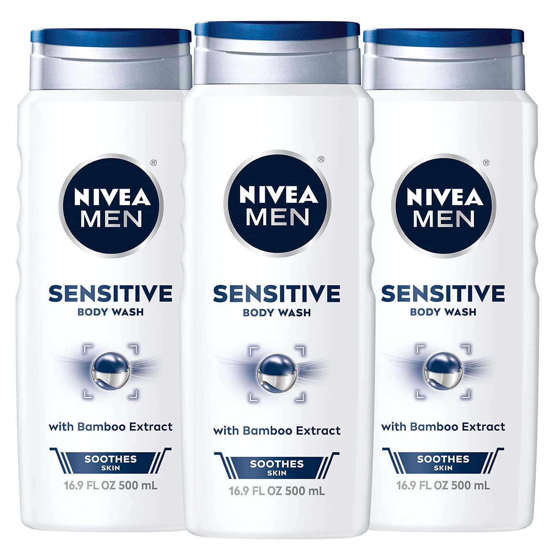 Three bottles of Nivea Sensitive 3-in-1 Body Wash; best body wash for sensitive skin