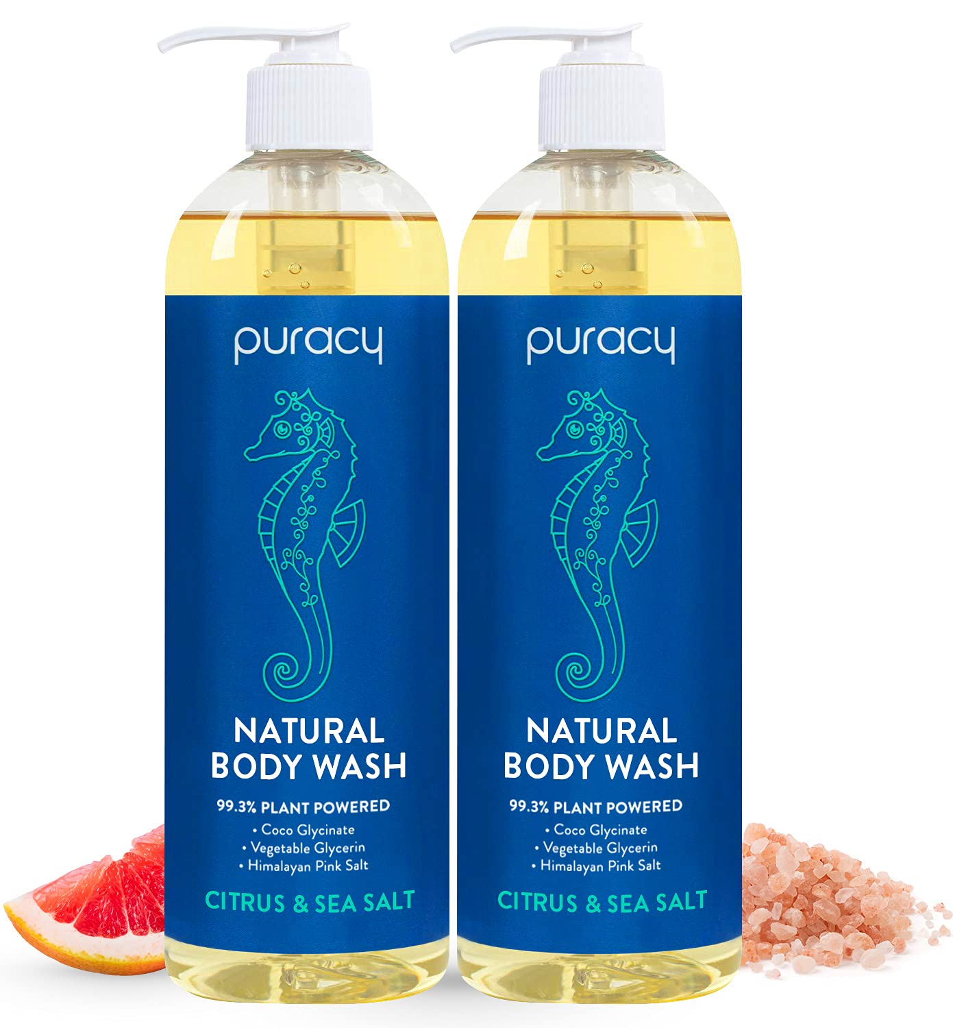 Two bottles of Puracy Natural Body Wash