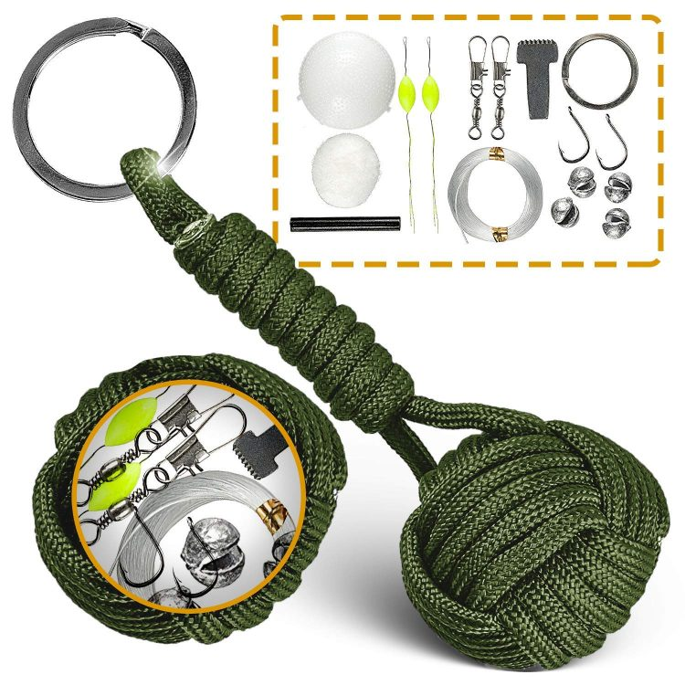 fishing paracord keychain survival tool