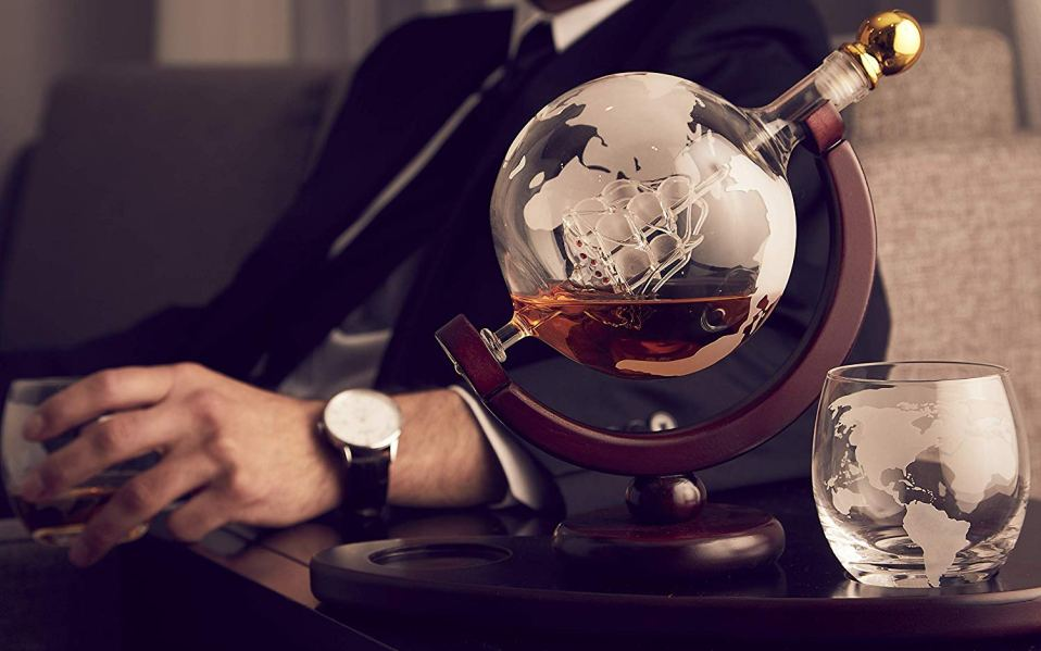 globe etched glass decanter