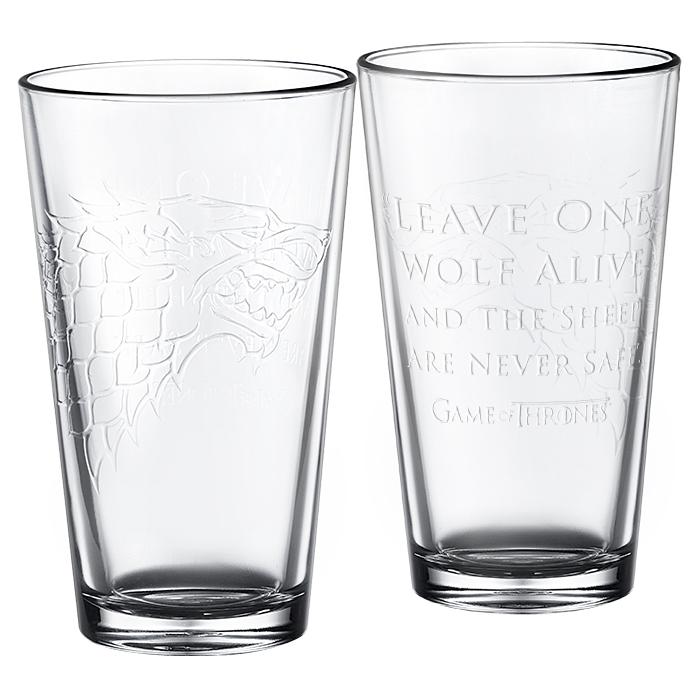 Game of Thrones pint glasses house stark