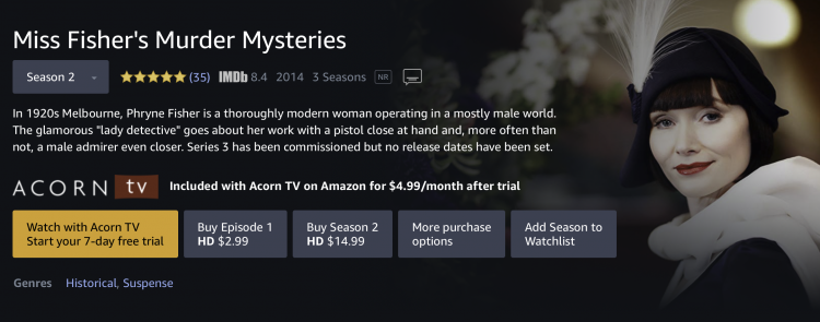 Miss Fisher's Murder Mysteries streaming