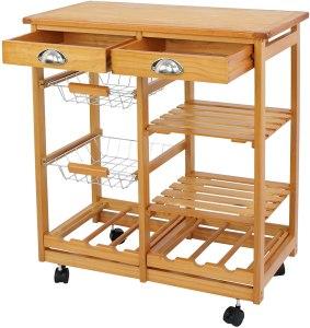 Wood trolley prep table