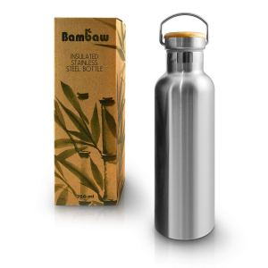 Stainless Steel & Bamboo Water Bottle