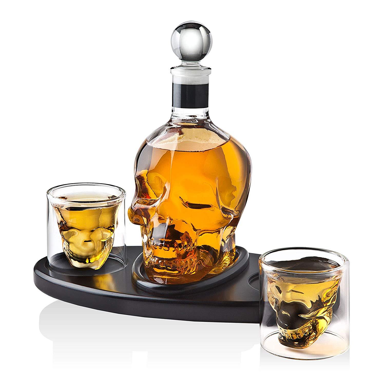 glass skull whiskey decanter
