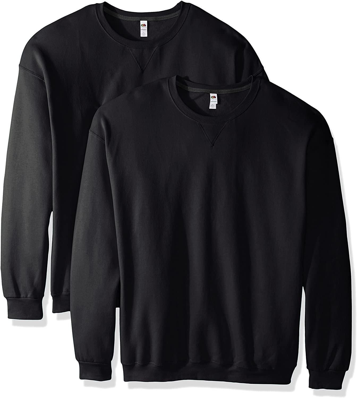 Fruit of the Loom Men's Crew Sweatshirts in black, two pack