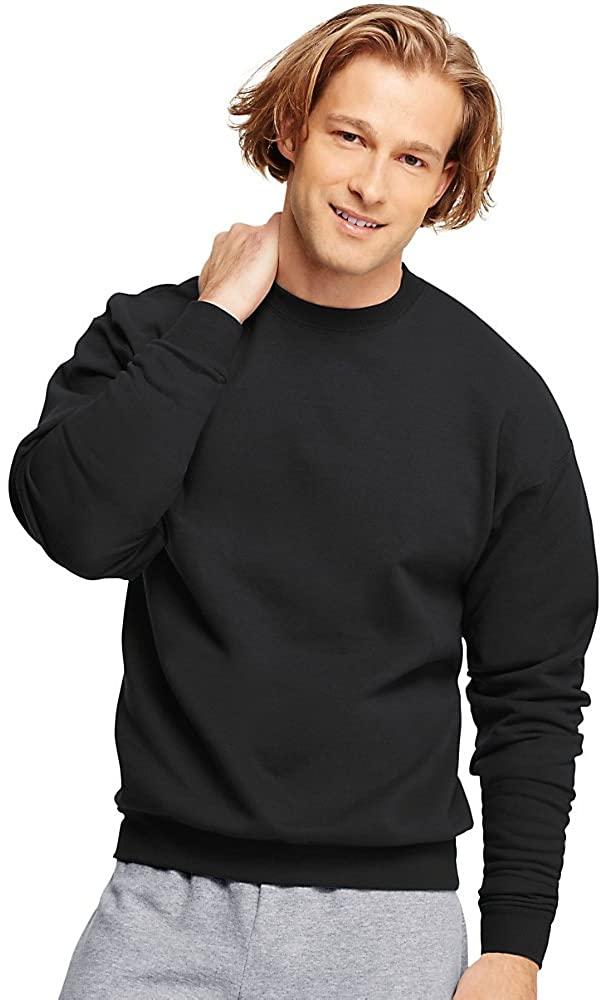 Man wears Hanes ComfortBlend EcoSmart Crew Sweatshirt in black