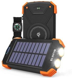 Qi Portable Solar Power Bank, hurricane emergency kit essentials
