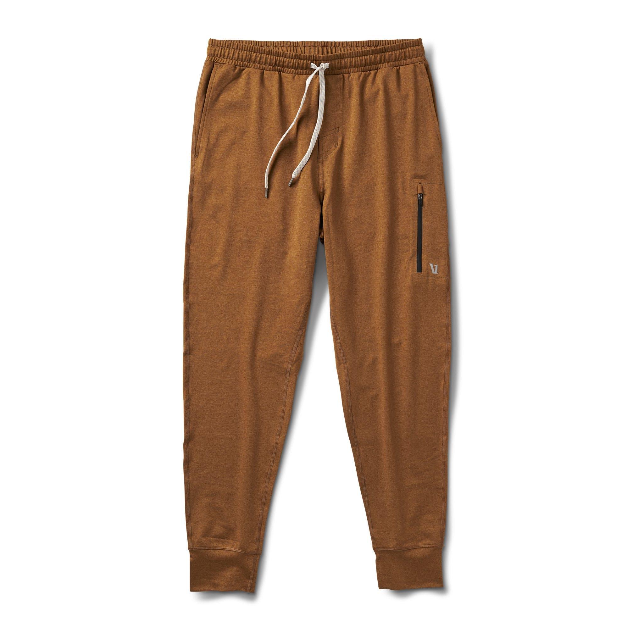 Vuori Sunday Performance Joggers in light tobacco brown; best men's loungewear