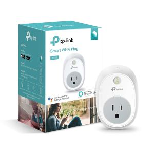 tp-link smart plug with a its box on a white background