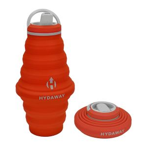 red collapsible water bottle shown both upright and folded down