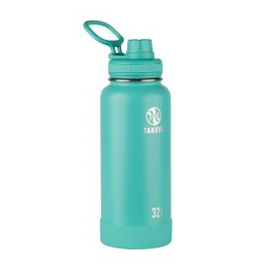 insulated water bottle in teal from takeya