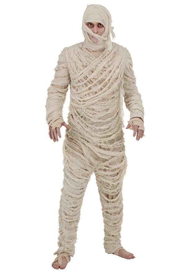 man wearing a mummy costume