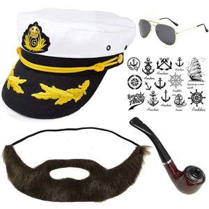 sailor hat beard pipe costume set