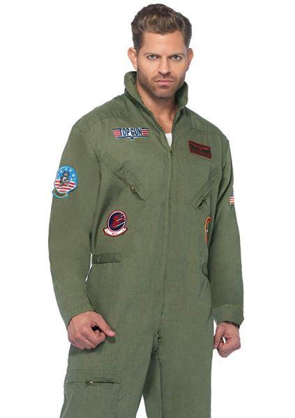 man wearing a Top Gun flight suit costume