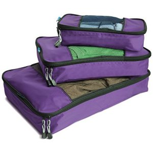 three travelwise packing cubes in purple