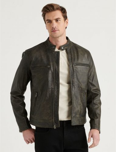 Lucky Brand Classic Washed Bonneville Leather Jacket