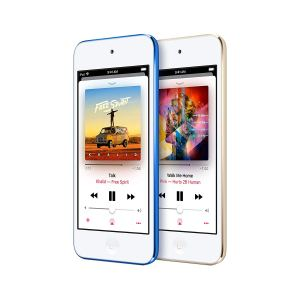 two apple ipod touch devices on a white background