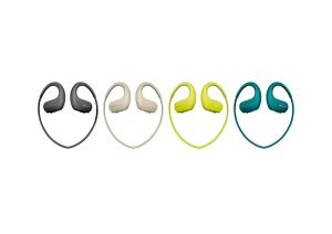 sony headphone-integrated walkman in four different colors on a white background