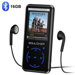 soulcker mp3 player with headphones and the bluetooth symbol on a white background