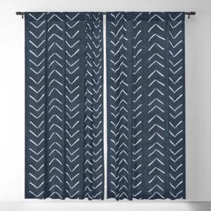 blackout curtains in white navy arrows
