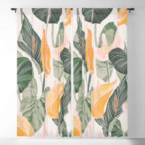 blackout curtains in white autumn pattern
