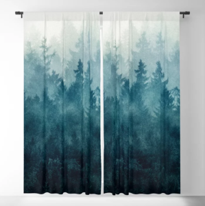 blackout curtains in white forest pattern