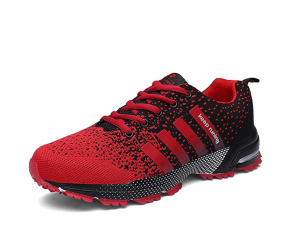 red trail running shoes on a white background