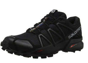black salomon trail running shoes on a white background