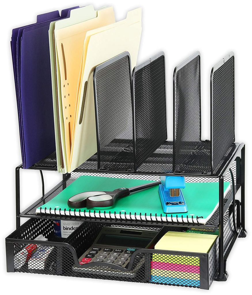 SimpleHouseware Mesh Desk Organizer with Sliding Drawer