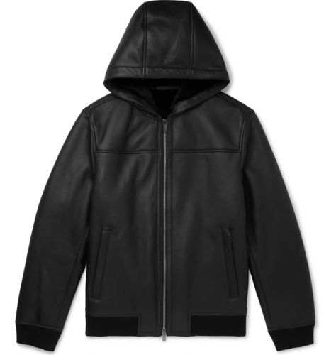 Theory Rivington Shearling Hooded Leather Jacket