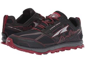 black and red altra trail running shoes on a white background