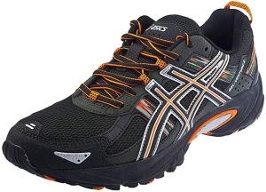 black and orange asics trail running shoes on a white background