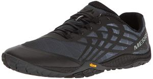 black merrell trail running shoes on a white background