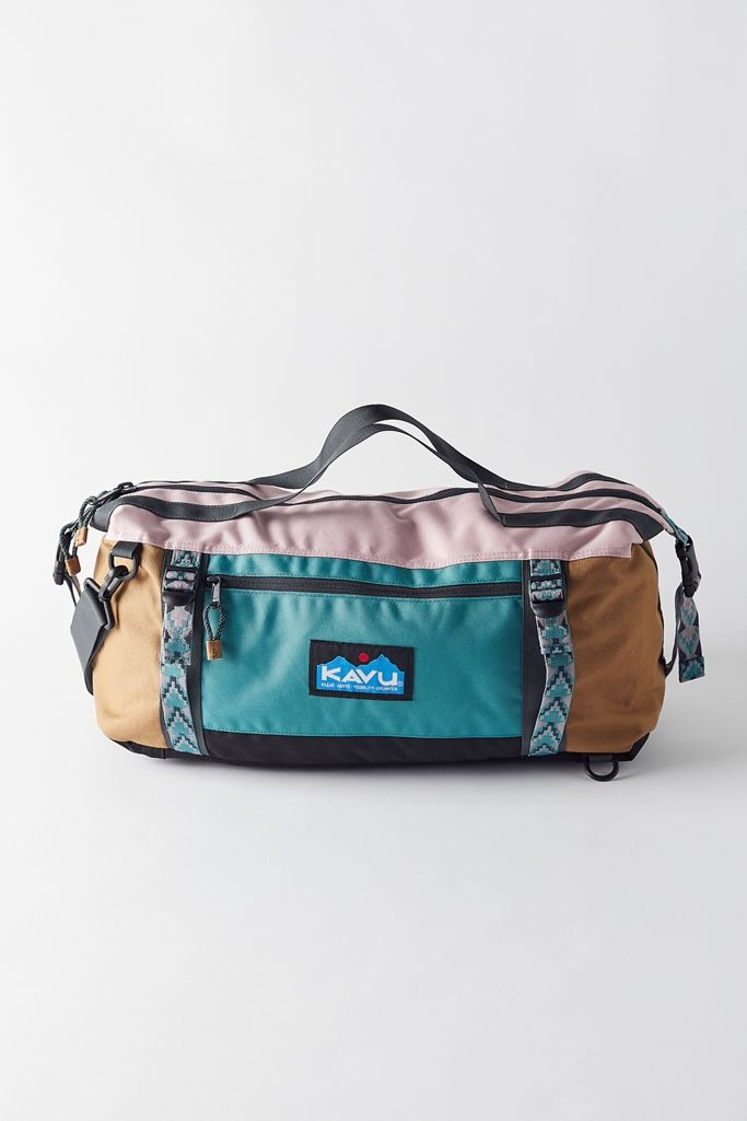 color blocked kavu duffel bag
