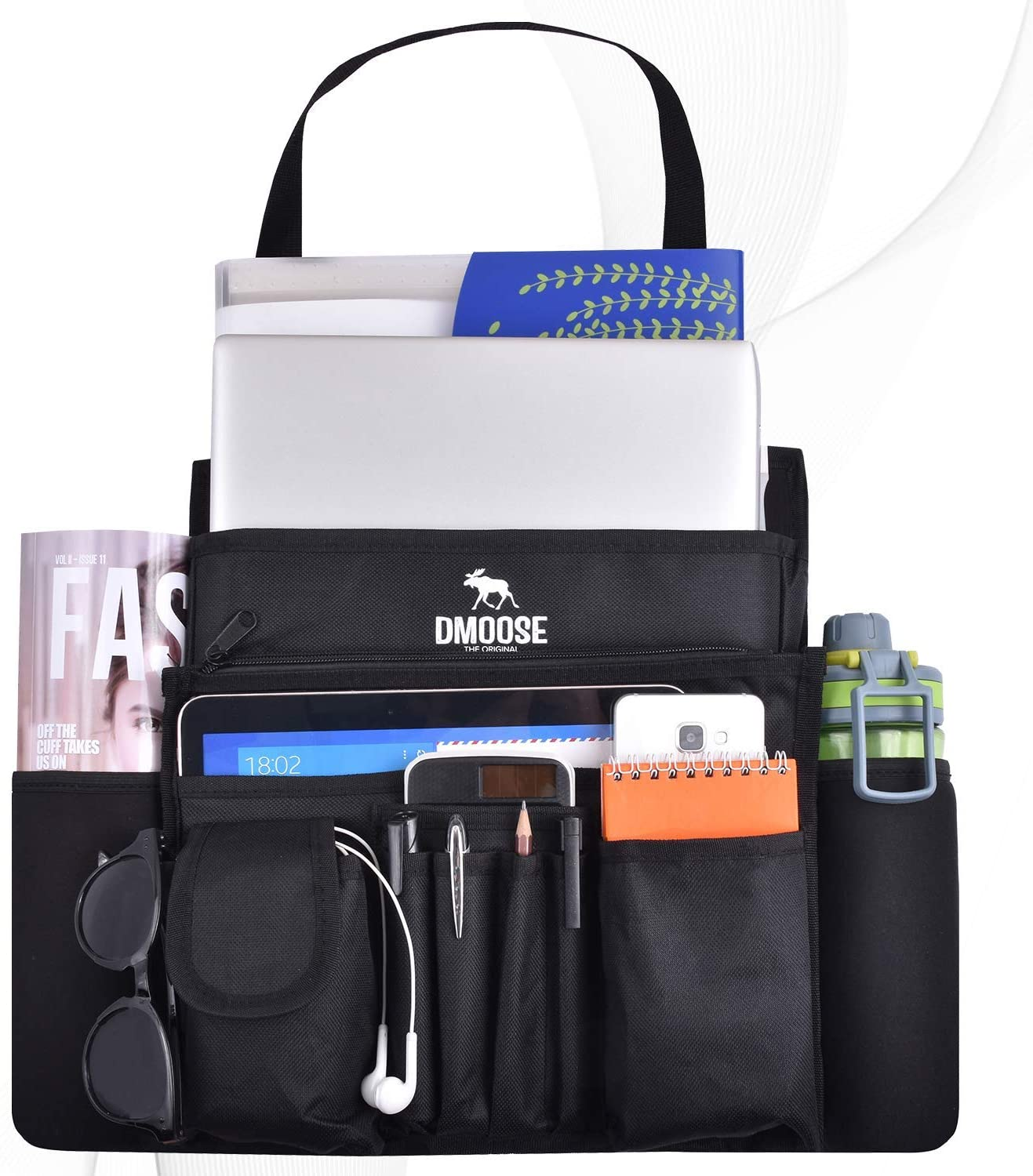 Dmoose Car Front Seat Organizer with laptop, sunglasses, a water bottle, a magazine and more