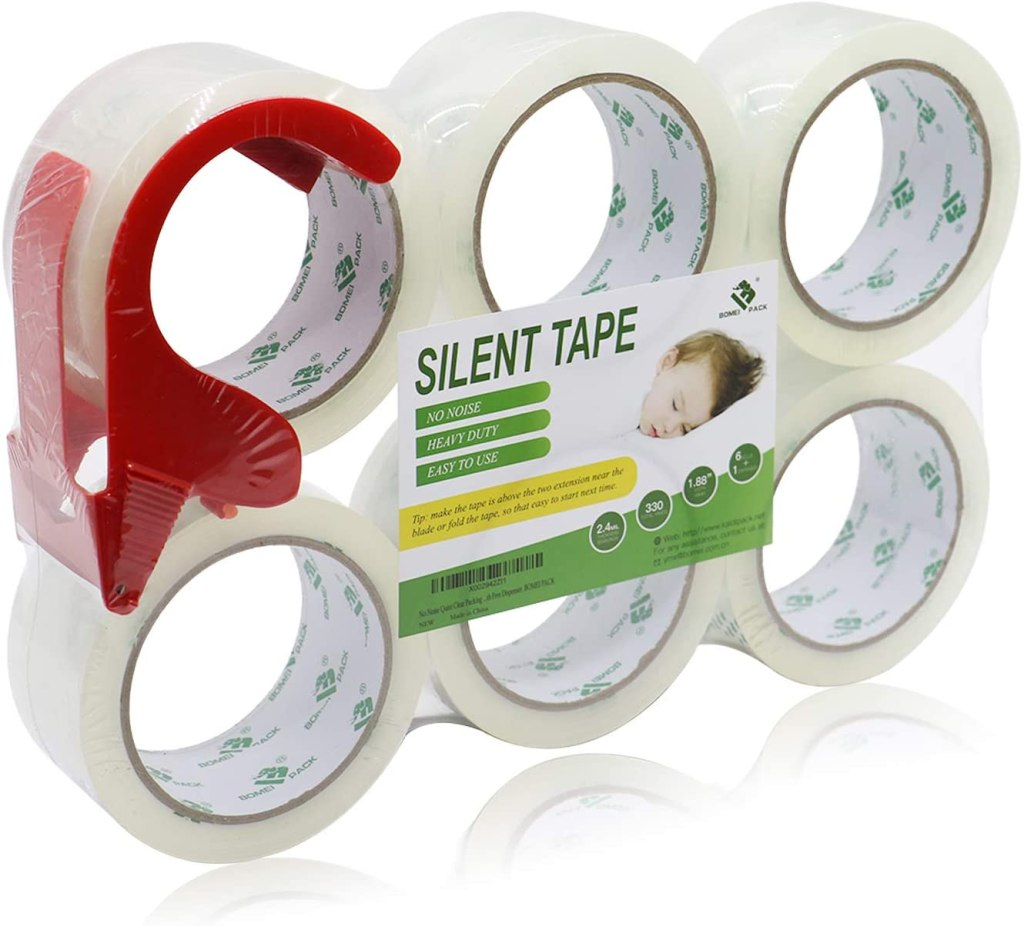 No Noise Quiet Clear Packing Tape