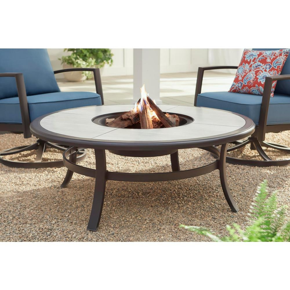 Whitfield 48 in. Round Galvanized Steel Wood Burning Fire Pit Table