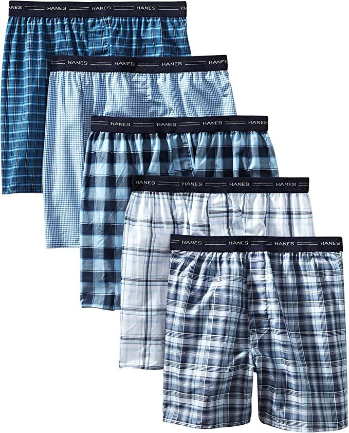 best mens underwear - blue checkered boxers Hanes