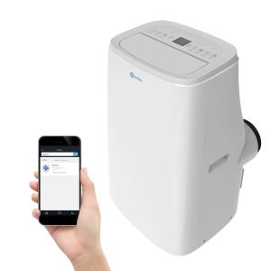 a rollicool air conditioner on a white background alongside a hand holding a smart phone showing the air conditioner's app