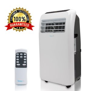 a serene life air conditioner with a remote on a white background showing a badge for 100% satisfaction guaranteed