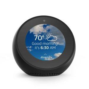 amazon alexa echo dot alarm clock on a white background