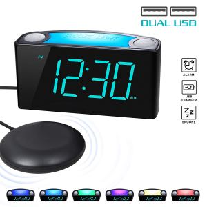 rocam digital alarm clock on a white background