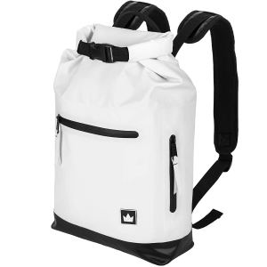 white waterproof backpack on a white background