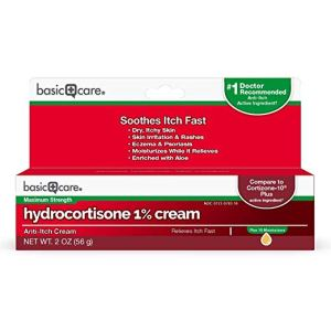 basic care hydrocortisone 1% cream box on a white background