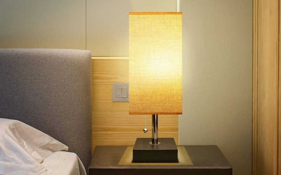 a square lamp displayed on a