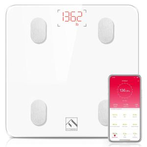 the fitinex bmi scale along with a smartphone showing its app on a white background